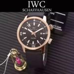 IWC-075-03 商務男士礦物質鋼化玻璃頭層牛皮超級海洋系列全自動機械腕表