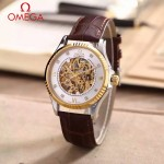 OMEGA-175-4 全新鏤空設計間金系列配白底藍寶石鏡面全自動機械腕錶