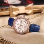 OMEGA-176-2 時尚女士藍色配白底礦物質強化玻璃進口石英腕錶
