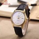 OMEGA-174-3 時尚經典蝶飛系列土豪金配白底皮帶款全自動機械腕錶