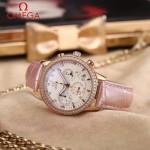 OMEGA-176-4 時尚女士粉色配白底礦物質強化玻璃進口石英腕錶