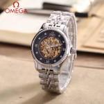 OMEGA-175-8 全新鏤空設計閃亮銀配黑底藍寶石鏡面全自動機械腕錶
