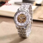 OMEGA-175-7 全新鏤空設計閃亮銀配白底藍寶石鏡面全自動機械腕錶