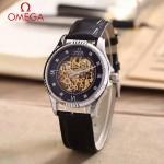 OMEGA-175-2 全新鏤空設計閃亮銀配黑底藍寶石鏡面全自動機械腕錶