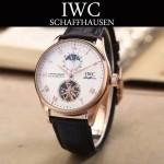IWC-074-11 商務男士日月星辰搭配陀飛輪設計玫瑰金配白底全自動機械腕錶