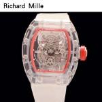 Richard Mille-80 潮流奢華男士紅色玻璃殼材質原裝全自動機械腕錶