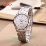 OMEGA-174-14 時尚經典蝶飛系列閃亮銀配白底鋼帶款全自動機械腕錶
