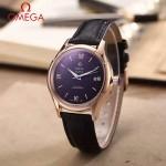 OMEGA-174-6 時尚經典蝶飛系列玫瑰金配黑底皮帶款全自動機械腕錶