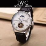 IWC-074-7 商務男士日月星辰搭配陀飛輪設計閃亮銀配白底全自動機械腕錶