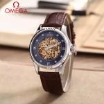 OMEGA-175-5 全新鏤空設計閃亮銀配黑底藍寶石鏡面全自動機械腕錶
