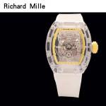 Richard Mille-80-5 潮流奢華男士黃色玻璃殼材質原裝全自動機械腕錶