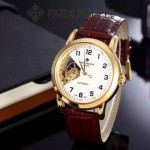 PATEK PHILIPPE-0146-02 百達翡麗進口牛皮表帶新款男士鏤空腕表