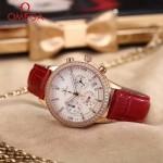 OMEGA-176-3 時尚女士紅色配白底礦物質強化玻璃進口石英腕錶