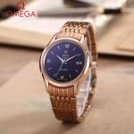 OMEGA-174-17 時尚經典蝶飛系列玫瑰金配黑底鋼帶款全自動機械腕錶
