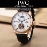 IWC-074-9 商務男士日月星辰搭配陀飛輪設計玫瑰金配白底全自動機械腕錶