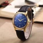 OMEGA-174-8 時尚經典蝶飛系列土豪金配藍底皮帶款全自動機械腕錶