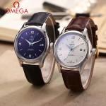 OMEGA-174-4 時尚經典蝶飛系列閃亮銀配白底皮帶款全自動機械腕錶