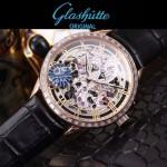 格拉蘇蒂-01-07 時尚新款全自動機械雕花機芯藍寶石抗磨鏡面男士腕表