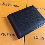 LV M60662 專櫃時尚新款MULTIPLE系列水波紋黑色原版皮短夾
