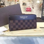 LV N60015-02 專櫃時尚新款ZIPPY限量版咖啡色棋盤格原版皮錢包