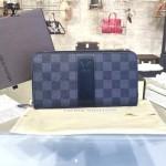 LV N63079 專櫃時尚新款ZIPPY限量版黑色棋盤格原版皮錢包