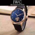 IWC-081-10 商務男士土豪金配黑底鏤空飛輪設計全自動機械腕錶