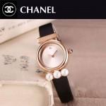 CHANEL-06-7 歐美百搭土豪金配黑色礦物質強化玻璃錶帶款進口石英腕錶