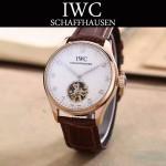 IWC-081-12 商務男士土豪金配白底鏤空飛輪設計全自動機械腕錶