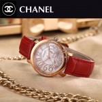 CHANEL-04 名媛必備玫瑰金配紅色藍寶石鏡面錶帶款瑞士石英腕錶