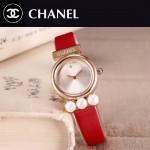 CHANEL-06-10 歐美百搭土豪金配紅色礦物質強化玻璃錶帶款進口石英腕錶