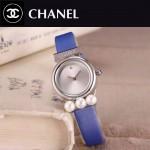 CHANEL-06-11 歐美百搭閃亮銀配藍色礦物質強化玻璃錶帶款進口石英腕錶