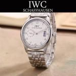 IWC-082-7 型男必備閃亮銀配白底經典兩針半鋼帶款進口石英腕錶