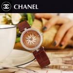 CHANEL-07-7 新款四季之花系列土豪金配咖色316精鋼錶殼進口石英腕錶