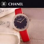 CHANEL-08-3 時尚新款土豪金配紅色鑲鑽星空面藍寶石鏡面進口石英腕錶