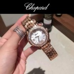 Chopard-040 潮流百搭玫瑰金經典圓形錶盤滾珠設計瑞士石英腕錶