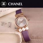 CHANEL-06-9 歐美百搭土豪金配紫色礦物質強化玻璃錶帶款進口石英腕錶