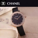 CHANEL-08-2 時尚新款土豪金配黑色鑲鑽星空面藍寶石鏡面進口石英腕錶