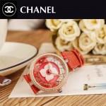 CHANEL-07-5 新款四季之花系列土豪金配紅色316精鋼錶殼進口石英腕錶