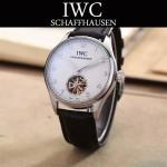 IWC-081-6 商務男士閃亮銀配黑底鏤空飛輪設計全自動機械腕錶