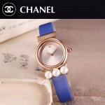 CHANEL-06-8 歐美百搭土豪金配藍色礦物質強化玻璃錶帶款進口石英腕錶