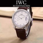 IWC-082-6 型男必備閃亮銀配白底經典兩針半進口石英腕錶