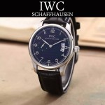 IWC-082 型男必備閃亮銀配黑底經典兩針半進口石英腕錶