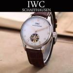 IWC-081-4 商務男士閃亮銀配黑底鏤空飛輪設計全自動機械腕錶