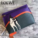 LOEWE 019 專櫃時尚新款T-bucket  bag系列之迷失小狗原版小牛皮小號拼接手包