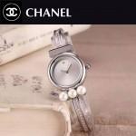 CHANEL-06-3 歐美百搭閃亮銀配白色礦物質強化玻璃手鐲款進口石英腕錶