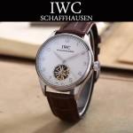 IWC-081-5 商務男士閃亮銀配黑底鏤空飛輪設計全自動機械腕錶
