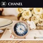 CHANEL-07-4 新款四季之花系列土豪金配白色316精鋼錶殼進口石英腕錶