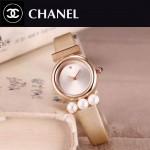 CHANEL-06-5 歐美百搭土豪金配金色礦物質強化玻璃錶帶款進口石英腕錶