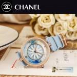 CHANEL-07-6 新款四季之花系列土豪金配藍色316精鋼錶殼進口石英腕錶