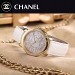 CHANEL-04-4 名媛必備土豪金配白色藍寶石鏡面錶帶款瑞士石英腕錶